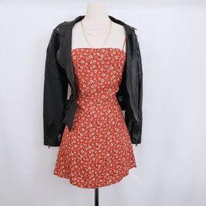 Floral Strappy Back Tie Mini Dress
